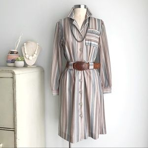 VINTAGE 1970s Striped Long Sleeve Shirt Dress 6 8